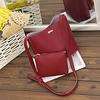 Бордовая женская сумка с косметичкой