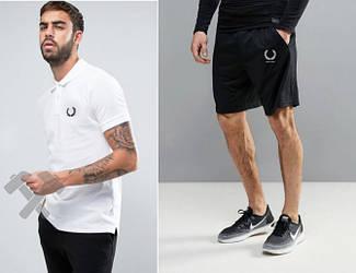 Мужской комплект поло + шорты Fred Perry белого и черного цвета