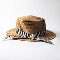 Женская пляжная шляпа с лентой и бусинами