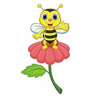 Яркая наклейка для интерьера с изображением забавной маленькой пчелки Bee on a Flower Код: КГ4405