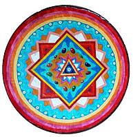"""Декоративная тарелка диаметром 42 см """"Квадратура Круга """" шамотной глины станет изысканным 078"""