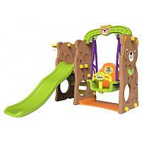 Дитячий ігровий майданчик, гірка, гойдалка, баcкетбол 4in1- Медведик