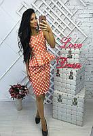 Женский летний костюм: топ с баской и юбка, в расцветках (ЛВ-8-0418)