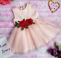 Детское нарядное платье с цветочным декором, в моделях (ЛВ-9-0418)