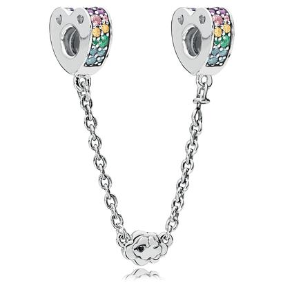 Серебряная защитная цепочка «Радуга любви» в стиле Pandora