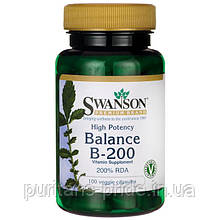 Комплекс B-200, Swanson Balance B-200 Complex - Higher Potency 100 VEG CAPS