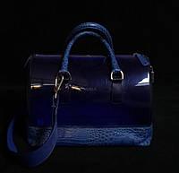 Сумка женская Furla синяя с кожаной вставкой