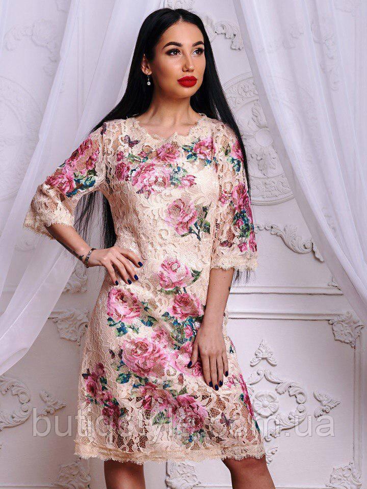 Красивое элегантное женское кружевное платье с цветочным узором белое, беж и розовое