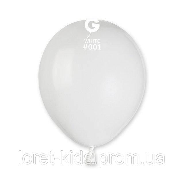 """Пастель белый 5"""" (13 см). Шарики воздушныеТМ Gemar"""
