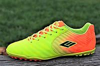 Подростковые сороконожки, бампы, кроссовки для футбола желтые оранжевые легкие (Код: 1136)