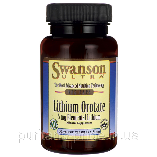 Літій-оротат Lithium Orotate, Swanson, 5 мг, Elemental Lithium 60 капсул
