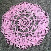 Салфетка D 40 cm. Розовые сердца, вязаная крючком, ручная работа, круглая, прекрасный подарок на 8 марта