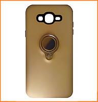 Противоударный TPU+PC чехол Deen с креплением под магнитный держатель для Samsung Galaxy J7 SM-J700H Gold