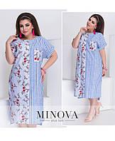 6130a012eef5 Летнее прямое льняное платье большого размера ТМ Минова Прямой поставщик  Украина Россия СНГ р.50