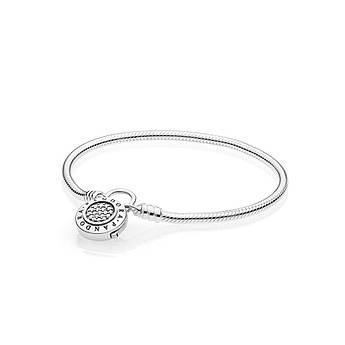 Серебряный браслет мягкого плетения «Moments» с замком-подвеской в стиле Pandora