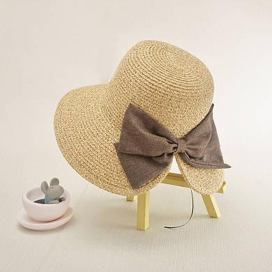 Женская шляпа с широкими полями и бантом
