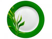 """Тарелка столовая 19см мелкая круглая с зеленой каймой """"Бамбук"""""""