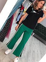 Модные женские брюки (фабричный Китай, хлопок, лампасы, легкий клеш)