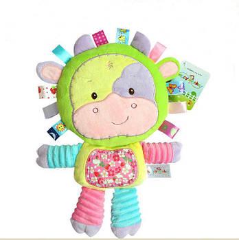 Мягкая игрушка - погремушка Коровка Happy Monkey