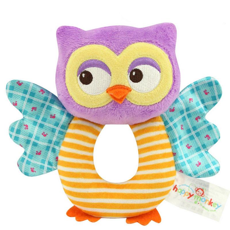 Мягкая игрушка - погремушка Сова Happy Monkey