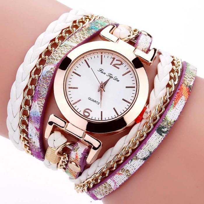 Жіночі годинники браслет з білим ремінцем