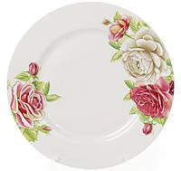 """Набор 6 фарфоровых обеденных тарелок Ø23см """"Чайная роза"""""""