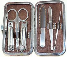 Маникюрный набор, 6 предметов, коричнево-красный