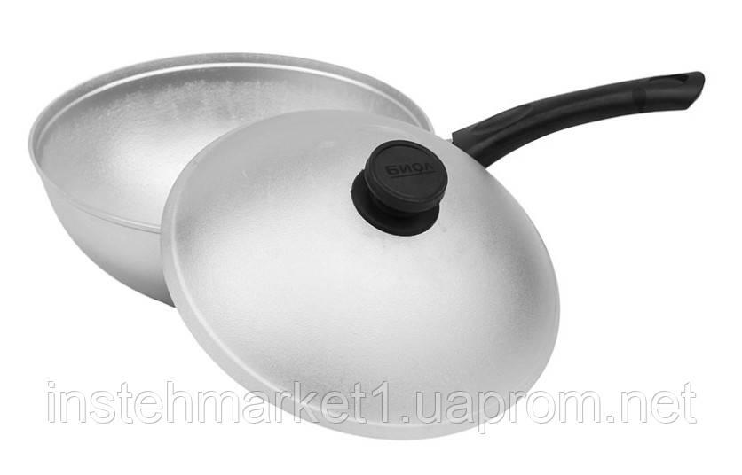 Сковорода БИОЛ А265 (діаметр 260 мм) глибока з рівним дном з кришкою, бакелітова ручка