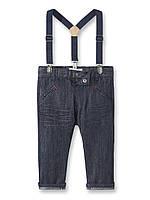 Брюки (Франция) хлопковые с подтяжками джинсовый деним brut для мальчика 12 мес 18 мес 12 мес / 74 см