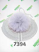 Меховой помпон Песец, Серо-голубой, 12 см, 7394