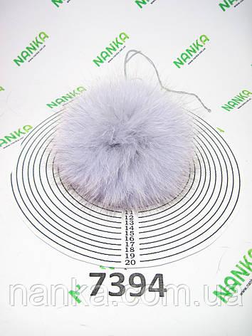 Меховой помпон Песец, Серо-голубой, 12 см, 7394, фото 2