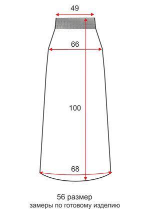 Юбка из трикотажной ткани - 56 размер - чертеж