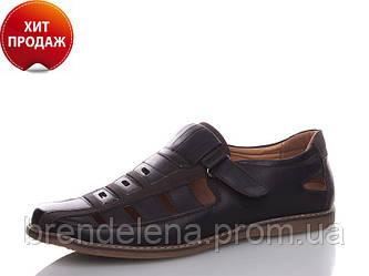 Стильные черные туфли-сандалии мужские р (46-47)