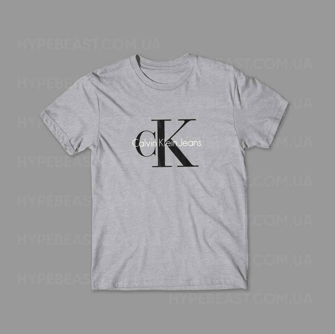 95d6242e06e44 Футболка Calvin Klein | серый | с принтом | реплика - Интернет-магазин  хайповой одежды