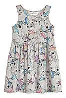Детский сарафан платье (единороги) Sleeveless jersey dress 4-6 лет, HM