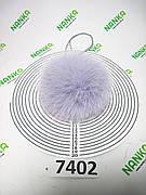 Меховой помпон Песец, Серо-голубой, 11 см, 7402
