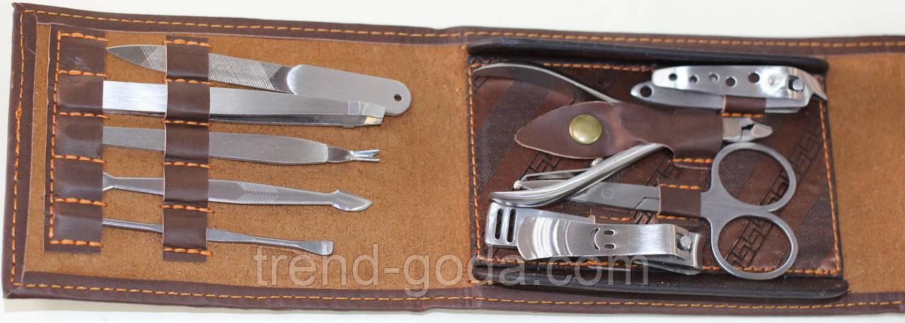 Маникюрный набор, 9 предметов, коричневый в форме бумажника