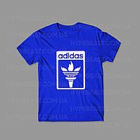 Футболка Adidas   синяя   с принтом