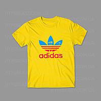 Футболка Adidas Tropic | желтая | с принтом | реплика