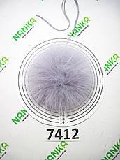 Меховой помпон Песец, Серо-голубой, 10 см, 7412, фото 2