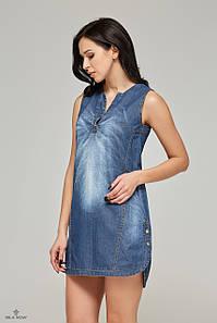 Джинсовое короткое платье синее