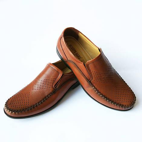 Летняя турецкая мужская обувь : кожане мокасины, коричневого цвета, недорого