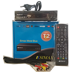 Тюнер т2 приставка SIMAX METAL Blue с YouTube, IPTV, MEGOGO, 1USB