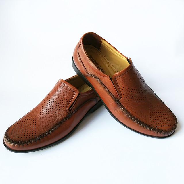 Кожаная турецкая мужская обувь летние мокасины, коричневого цвета, под ложку, недорого