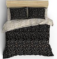 Комплект постельного белья листики из бязи Gold 100% хлопок двуспальное