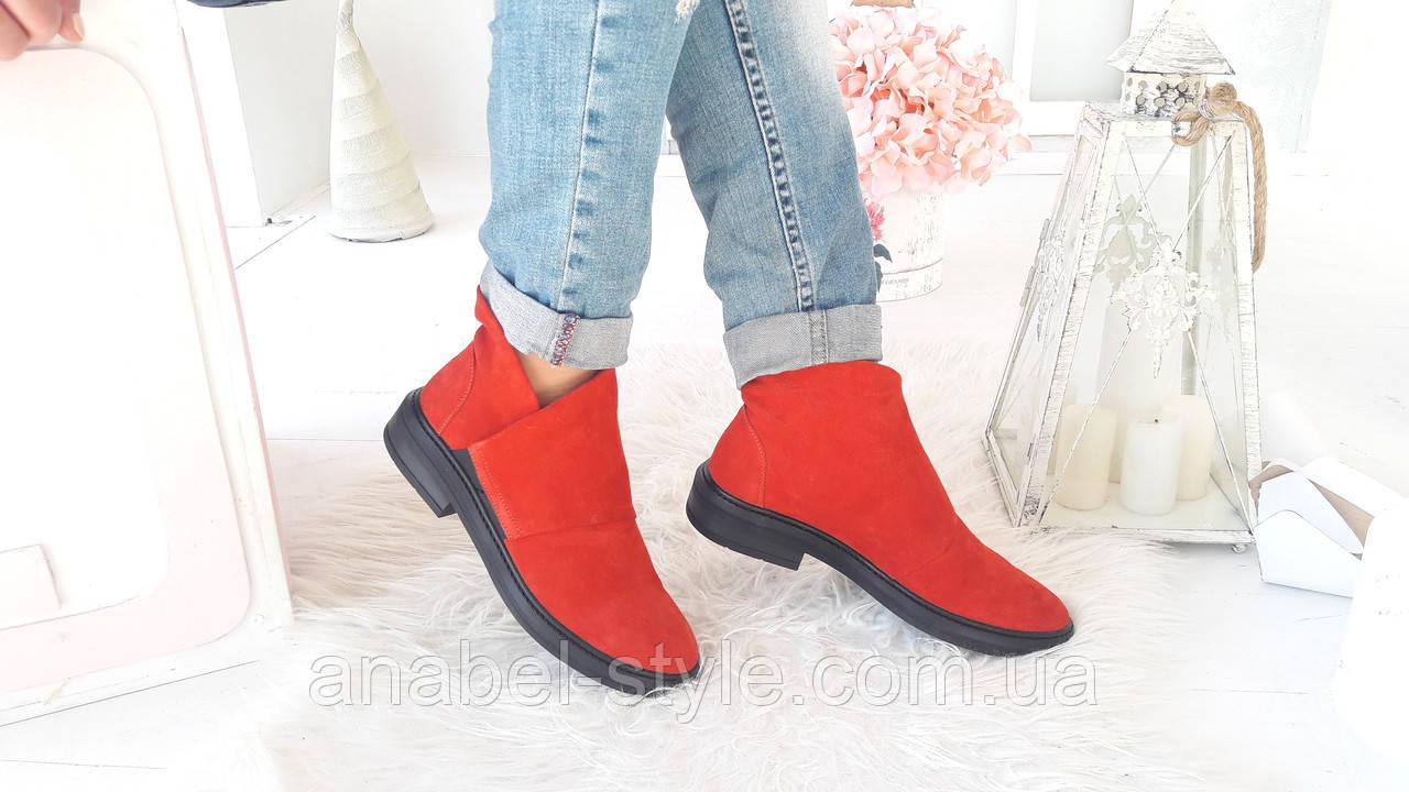 Туфли на плоской подошве женские из натуральной замши красного цвета на липучке сбоку Код 1494 AR