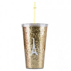 Стакан с крышкой и трубочкой Eiffel Tower Gold (121568)