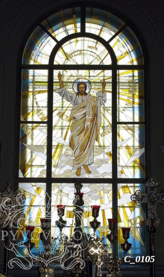 Церковные витражи Спас в арочные окна храма