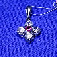 Серебряный кулон с цирконием (рубиновый) 3174-цв-р, фото 1