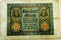 Банкнота Германии 100 марок 1920 г VF